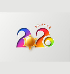 summer 2020 background with cut numbers and golden vector image