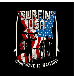 surfing usa american california surf vector image