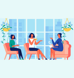 three women communicate near panoramic window vector image
