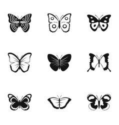 Types of butterflies icons set simple style vector