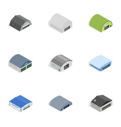 Types of warehouse icons isometric 3d style vector