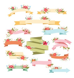 Vintage Floral Ribbon Banners vector