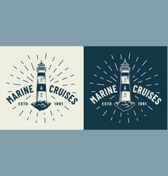 Vintage marine cruise logotype vector