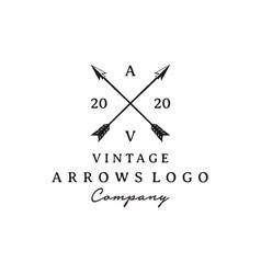 vintage rustic hipster crossed arrow logo design vector image