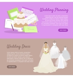 Wedding Planning and Wedding Dress Web Banner vector image