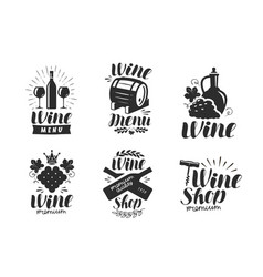 Wine logo or label winery drink symbol vector