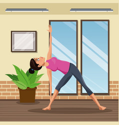Woman practice yoga meditacion vector