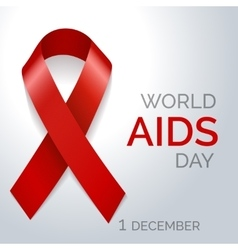 World AIDS day red ribbon poster vector