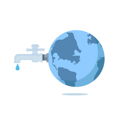 world water day - faucet or water tap with a drop vector image