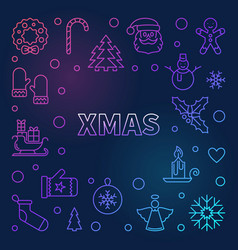 xmas colorful frame - merry christmas vector image