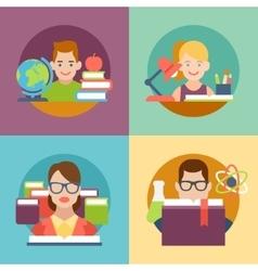 Flat education student pupil kid parent teacher vector image vector image