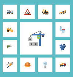 flat icons mitten tractor excavator and other vector image vector image