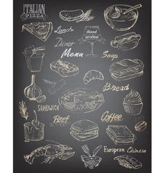 Hand drawn food and meal vector