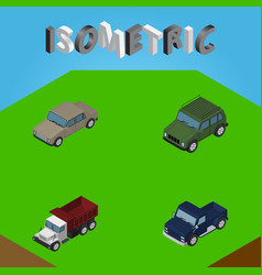 Isometric automobile set of auto armored freight vector