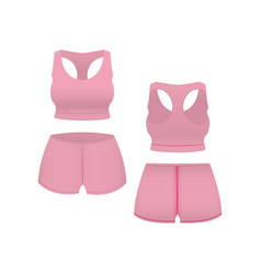 realistic template blank pink shorts and top vector image vector image