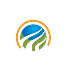 round globe technology logo vector image vector image