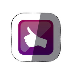 sticker color square with hand signal ok vector image
