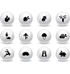 Web buttons woodland icons vector image vector image