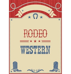 American cowboy rodeo poster for text vector image