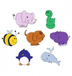 animal doodles vector image
