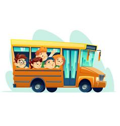 cartoon school bus full of happy kids vector image