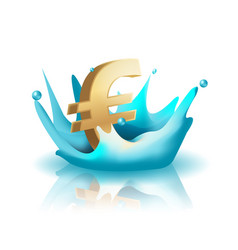 currency water splash gold euro vector image