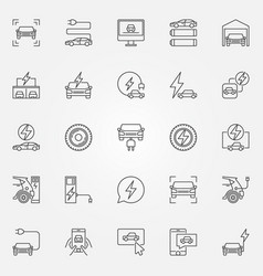 electric car icons set electric vehicle vector image vector image