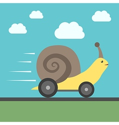 Fast snail with wheels vector image