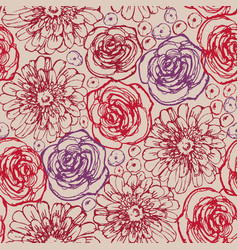 hand drawn flowers seamless pattern roses vector image