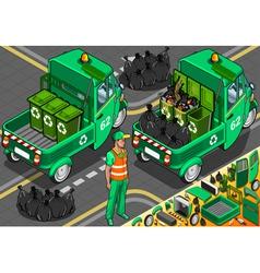 Isometric Garbage Rickshaw in Rear View vector image