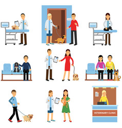 veterinary clinic set people visiting vet clinic vector image vector image