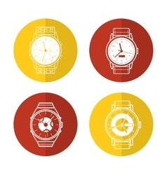 Watch icons set in color circles vector image vector image