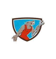 Wolf Mechanic Spanner Shield Cartoon vector image