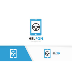 car helm and phone logo combination vector image vector image