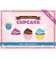 retro cupcake poster vector image