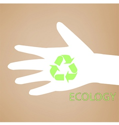 Reuse sign on hand silhouette vector image vector image