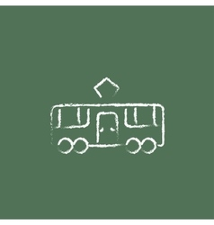 Tram icon drawn in chalk vector image vector image