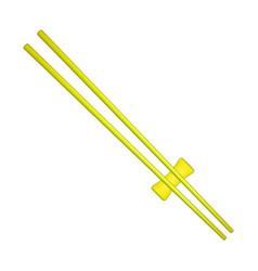 wooden chopsticks in yellow design vector image vector image