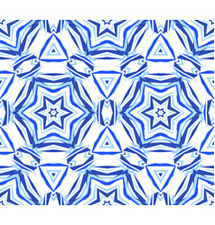 blue background kaleidoscopic star pattern vector image vector image