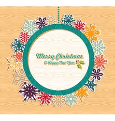 Retro wooden Christmas bauble banner vector image vector image