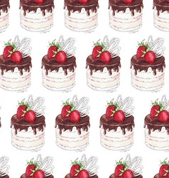 Watercolor Seamless pattern with strawberry cake vector image vector image