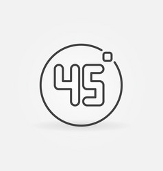 45 degrees concept minimal icon in thin vector