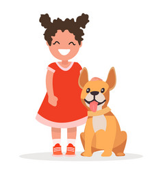 a cute little girl and dog on white background vector image