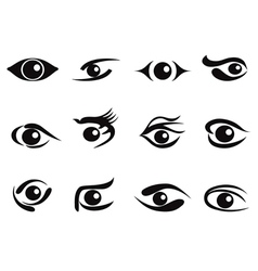 abstract eyes icon set vector image