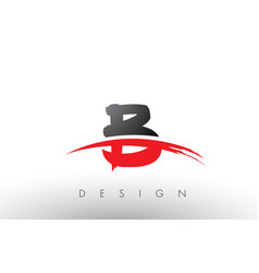 B brush logo letters with red and black swoosh vector