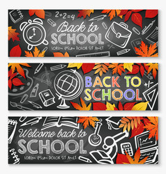Back to school education season banners vector