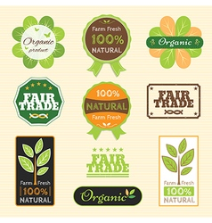 Badge Set of Certified Organic Natural farm fresh vector image