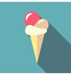 Ball ice cream icon flat style vector image