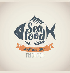 Banner for seafood shop with fish and words vector