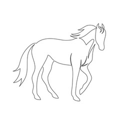 Black line horse on white background icon drawn vector